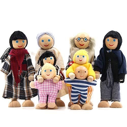 SumDirect - Set di 8 persone in legno per la casa delle bambole, per la famiglia delle bambole, per la casa delle bambole, giocattolo per bambini