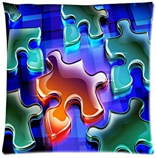 Colorful Autism Awareness Puzzle Pieces Pattern Cotton Pillow Case Cover Standard Size 18x18 inch (Two Side)