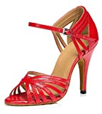 TDA Women's Fashion Single Strap Stiletto High Heel Latin Salsa Ballroom Dance Shoes 7 10cm Heel Red