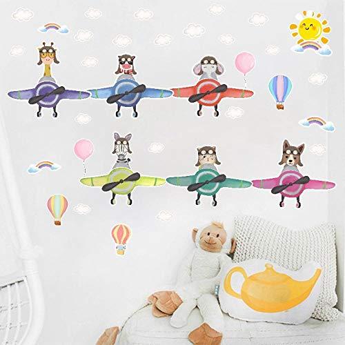 U/N Animal piloto Globo de Aire DIY Pegatina de Pared bebé niños habitación guardería calcomanías Autoadhesivas hogar azulejo ventana95x25cm
