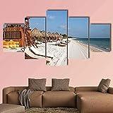 LTXMZ murales 5 Partes Carteles ModernoTorre de Salvavidas en la Playa de Playa del Carmen en MéxicoPóster HD Decoración para el hogar Impresiones