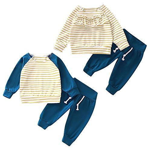 Bruder und Schwester passende Outfits Baby Jungen Mädchen Langarm Streifen Hemd Hosen Freizeitkleidung eingestellt