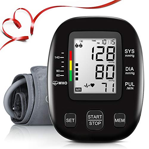 Blood Pressure Monitor,Automatic Upper Arm Bp Machine,Digital Blood Pressure Moniotor,Large LCD Display & Adjustable Cuff,2 Users 198 Memory Hypertension Detector,Home Use Care Device