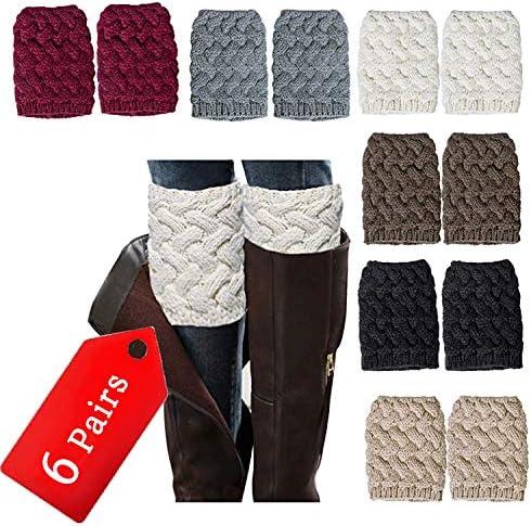 NEPAK 6 Pairs Womens Short Leg Warmers Boot Knit Cuffs Short Boots Socks Crochet Knitted Boot product image