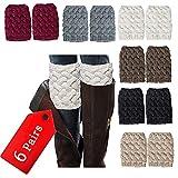 NEPAK 6 Pairs Womens Short Leg Warmers,Boot Knit Cuffs, Short Boots Socks,Crochet Knitted Boot Cuffs Topper Socks Gifts