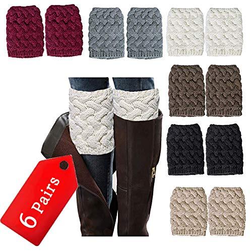 NEPAK 6 Pares Calentadores de Pierna de Invierno para Mujer Térmico Calentar Calientapiernas Ganchillo de Punto de Cable Calcetines
