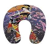 CIKYOWAY Almohada Viaje,Luna de pétalos de Geisha Japonesa,Espuma de Memoria cojín de Cuello,Almohadas de Acampada,Soporte de Cuello para Viaje Coche