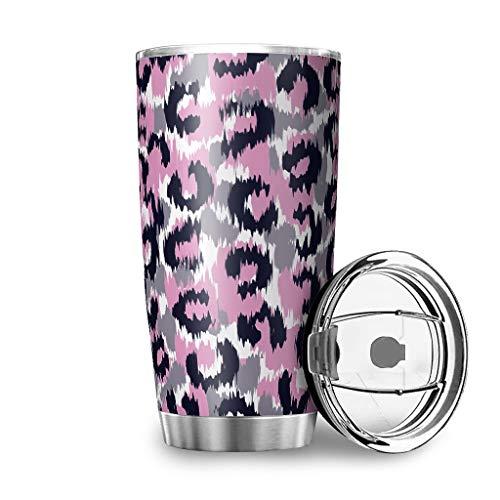 Taza de viaje con tapa y diseño de leopardo de acero inoxidable, taza de viaje 3D, térmica, 100 % hermética, color blanco