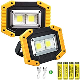 longdafei 2-Pack Portable LED Work Light, Rechargeable Floodlights with USB,Spotlight Waterproof Outdoor for Car Repairing...