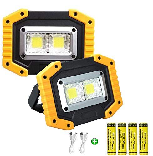 Longdafei paquete de 2 luces de trabajo LED portátiles, 30W reflectores recargables con USB, proyector impermeable al aire libre para reparación de automóviles, camping, pesca el lugar de trabajo