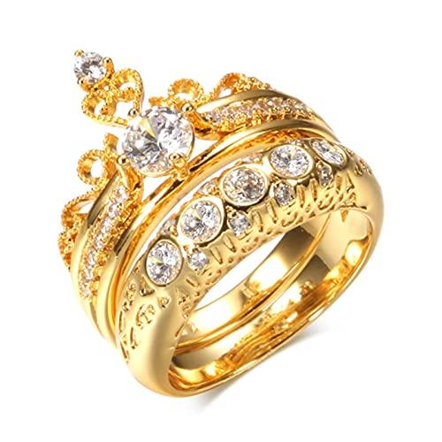 Anillos de Corona de Flores de Cristal de circón Natural para Mujer, Anillo de Boda étnico Hueco...
