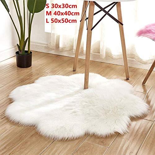ZXCZXC Antiskid Soft Faux Fur Wool Carpet Indoor Sheepskin Rug Modern Carpet Mat Blue White Pink Gray Living Room 30x30cm,A1 white,S