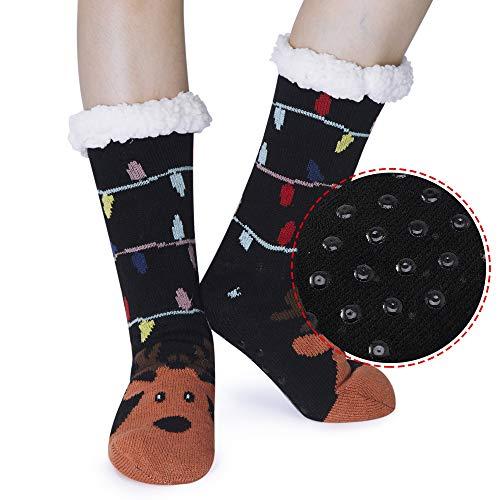 Funnycokid Girls Boys Christmas Slipper Socks Non-Slip Fuzzy Winter Socks for Kids Toddlers (Christmas Reindeer 1, 5-9 Years)