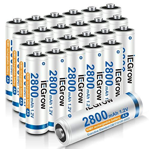 iEGrow Batterie AA Ricaricabili ad Alta Capacità 2800mAh Ni-MH, Bassa Autoscarica, confezione da 24 Piles AA da 1.2V