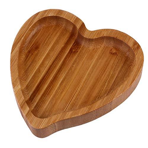 Artibetter 1 Unidad de Bandeja de Aperitivos en Forma de Corazón Bandeja de Madera de Bambú para Servir Aperitivos Bandeja de Joyería Bandeja de Almacenamiento para Platos para El Hogar