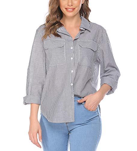 Parabler Bluse Damen gestreift Elegant Langarm V-Ausschnitt Oberteile Hemdbluse Blusenshirt Schwarz Weiß L Streifen Tunika Langarmshirt