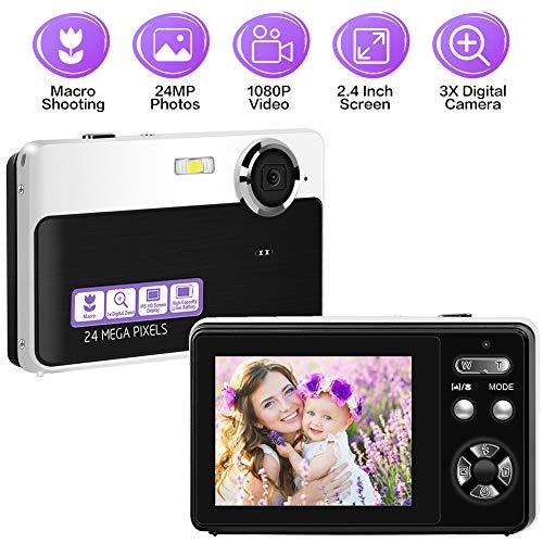Digitalkamera Fotoapparat Digitalkamera 24MP 1080P Kompaktkamera 2,4-Zoll-Bildschirmkamera mit Digitalzoom-Makro-Minikamera für Anfänger