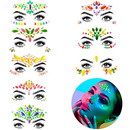 Face Jewels - Noctilucent Face Gems Mermaid Face Jewels Festival, Body Rhinestone Gems Rave Rainbow Face Crystals Luminous for Christmas Festival Music Carnival Party Makeup(8 Sets collection)