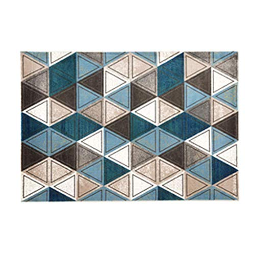 TTZY Living Room Bedroom Home Bed Blanket Square Mosaic Mat Area Blue Rectangular 133 * 190cm Home Gifts (Color : BLUE, Size : 133 * 190CM) SHIYUE (Color : Blue, Size : 133 * 190CM)