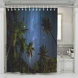 Enhome Anti-Schimmel und Wasserdicht Duschvorhang 3D Süßigkeiten Sommer Kokosnussbaum Küstenmuster Polyestergewebe Badezimmer Vorhang Gewebe 12 Duschvorhangringe (180 * 200cm,A)