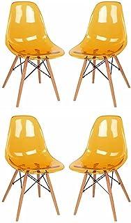 WWL Sillas De Comedor Silla Comedor, Silla Comedor Cristal Transparente, Juego 4 Piezas, Adecuada para Silla Cocina Oficina Sillas Madera Patas (Color : Yellow)