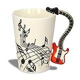 Kompassswc - Tazza da tè in Ceramica con Manico Divertente, in Porcellana, Motivo: Note Musicali, Stampata, in Confezione Regalo, 0,3 l Chitarra Rossa e elettrica.