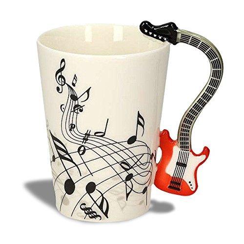 Kompassswc Lusitige Keramiktasse mit Motiv Henkel E-Gitarre Kaffeetasse Porzellan Tee Kaffeebecher Musiknoten Bedruckt Geschenk Tasse Ø7,5 H10cm 0,3L (Rot E-Gitarre)