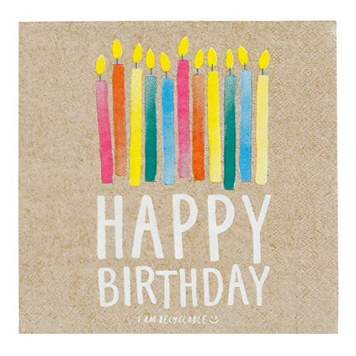 Talking Tables Lot de 20 Serviettes en Papier Kraft pour Fête d'anniversaire
