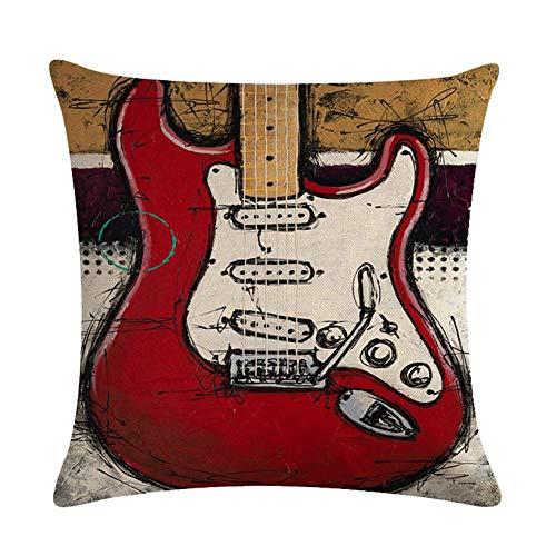 JUNGEN Funda de cojín del Guitarra bajo Serie Funda de Almohada 45x 45 cm Funda de cojín de Lino Funda de Cojines de Estampado Vintage para Decoracion de Coche sofá Salon Cafe (Estilo 4)