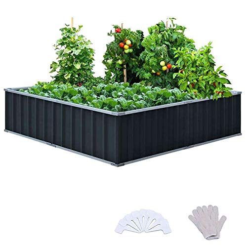 KING BIRD 101quotx 36quotx 12quot 4 Installation Methods for DIY Raised Garden Bed Galvanized Steel Metal Planter Kit Box Grey W/ 8pcs TTypes Tag amp 2 Pairs of Gloves CharcoalGrey