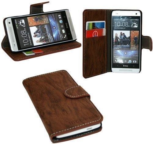 ENERGMiX Buchtasche Hülle kompatibel mit HTC One Mini (M4) Case Tasche Wallet BookStyle mit Standfunktion in Braun