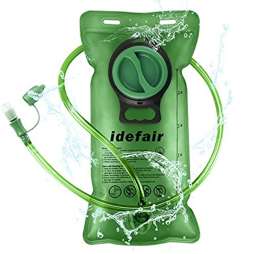 Idefair Bolsa de Vejiga de Hidratación, Depósito de Agua 2L Bolsa de Vejiga de Almacenamiento de Agua Sin BPA Reemplazo del Paquete de Hidratación para Acampar Senderismo Ciclismo Correr ⭐