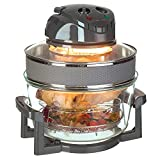 LIVIVO 17L Halogen Oven Cooker with Self-Cleaning 1400W Element and Easy Analogue Controls, Accessories Including Extender Ring, Racks and Tongs (Grey)