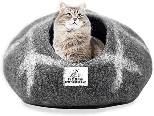 Himalayan Bazaar Katzenhöhle mit gefilztem Hasenversteck aus natürlicher ökologischer Wolle