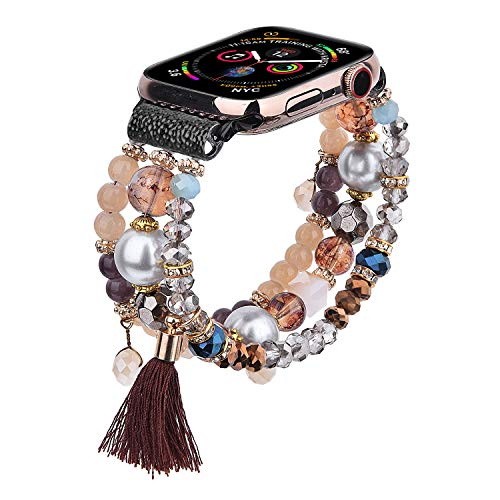 CAGOS Bracelet Beadeds Compatible with Apple Watch Band 44mm/42mm Women Girl,Cute Handmade Fashion Elastic Beaded Strap Compatible for Apple iWatch Series 5/4/3/2/1 (Brown, 42mm)