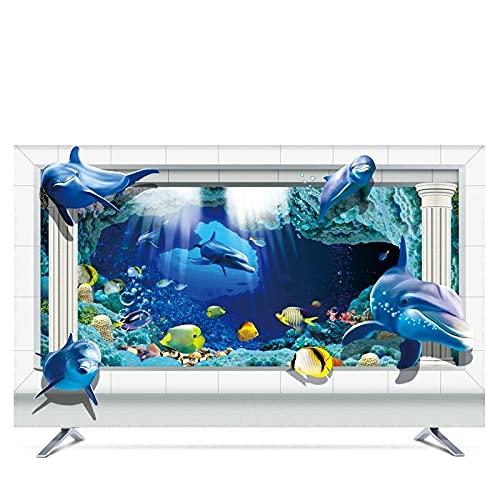 LANCYG TV Cubierta Protectora, Monitor Polvo Funda 19'- 80' Cubierta de Capucha Decorativa de 22 Pulgadas de 75 Pulgadas para TV de Pantalla PC Océano Azul Azul (Color : B, Specification : 55')
