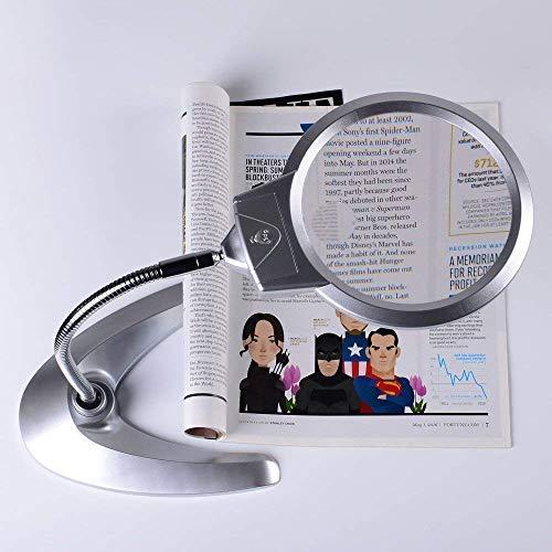 Busirsiz Lupa de Escritorio Principal Espejo retrovisor Auxiliar 8X 20X de la Lupa con iluminación LED de Escritorio Mejor distribución luz de Lectura, 90mm