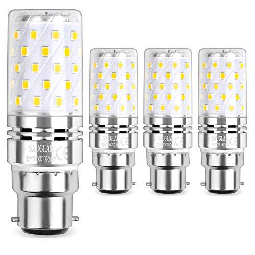 Sauglae LED Ampoule à Maïs 12W, 100W Équivalent Ampoules à Incandescence, B22 Casquette Baïonnette, 3000K Blanc Chaud, 1200LM, Pack of 4