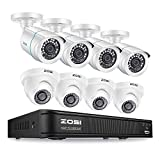 ZOSI H.265+ 1080p Home Security Camera System Indoor Outdoor, 5MP Lite CCTV DVR 8 Channel and 8 x 1080p Weatherproof Surveillance Bullet Dome Camera, Remote Access, Motion Detection (No Hard Drive)