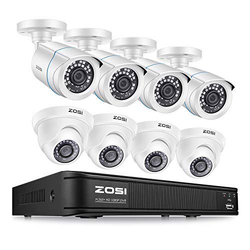 ZOSI H.265+ 1080p Home Security Camera System Indoor Outdoor, 5MP Lite CCTV DVR 8 Channel and 8 x...