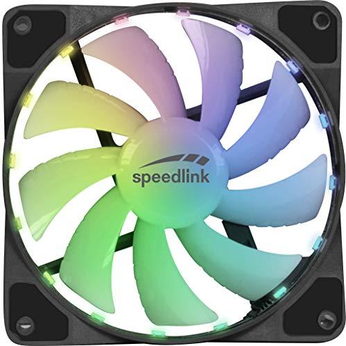 Speedlink Myx LED Fan Kit, 2 x Lüfter mit RGB-Beleuchtung inkl. Fernbedienung & Molex Hub - schwarz/weiß