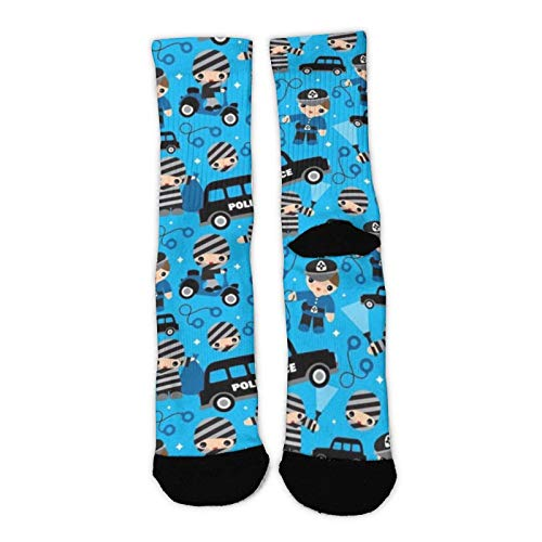 Men Women Kids Comfortable Cushion Crew Socks Multifunction Casual Socks Best for Running, Athletic, Pregnancy and Travel, Police Car Blue