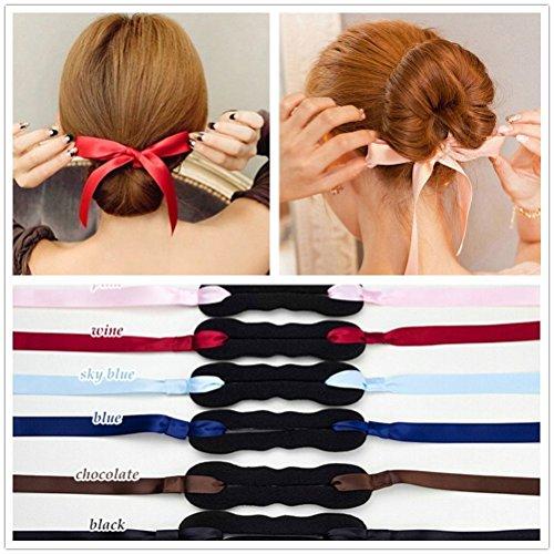 4 x Dutt/Haarspange für Damen, Mädchen, mit Schleife, für Haarklammern, Haarstyling, Haar-Accessoires, zufällige Farbauswahl