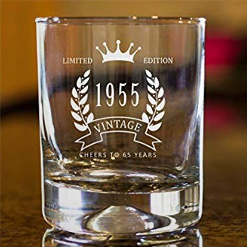 Vaso de whisky de 65 cumpleaños 1955 año de nacimiento grueso con peso inferior transparente copa de vino sin tallo, cristal grabado con láser 8 onzas