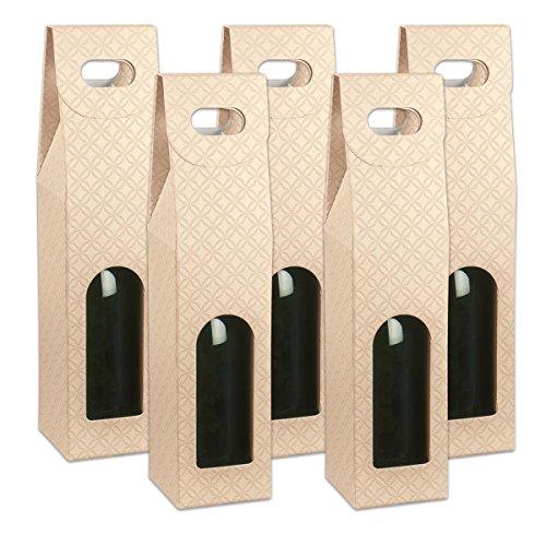 Flaschenkarton für 1 Flasche mit Handgriff & Fenster - 90 x 90 x 385 mm - Set mit 5 Stück - Jacquard Muster hellbraun