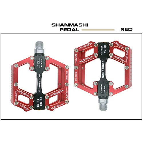 Nowbe Mountain Bike Pedal Mountain Bike Pedals 1 Pair Aluminum Alloy Antiskid Durable Bike Pedals Surface for Road Bike 5 Colors (SG-12D) Bicycle Platform Flat Pedals (Color : Red)