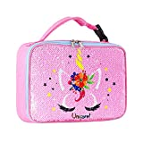 Kids Unicorn Sequin Lunch Box for Girls, Reversible Sequin Flip Color Change, Insulated Lunch Bag for Kids School and Travel, Compatible with Most Kids Lunch Box like Bentgo, DaCool, Bento (Pink)
