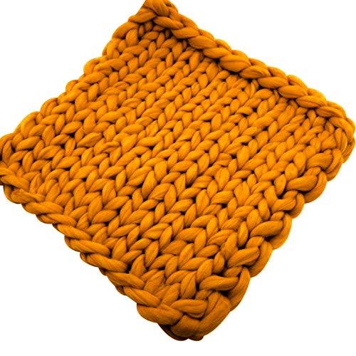 WCX Manta De Punto Gruesa Hecha A Mano Manta De Punto De Lana para Mascotas Sofá Súper Tejido Manta De Lana Decoración para El Hogar (Color : Orange, Size : 100x120cm)