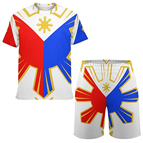 SWEET TANG Mens Youth Couple Outfit Pinoy Filipino Flag Stars and Sun T Shirt and Shorts Suit Casual Pullover Summer Crew Neck Sweatshirts Tops Blouse for Sports Fitness Home