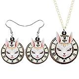 FUKAI Conjunto de joyería de conejo redondo de acrílico con diseño de conejito de conejo, collar y pendientes para decoración del día de los niños (color: 1)